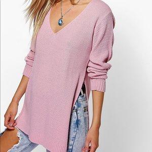 Boohoo v-neck side split Tunic Sweater M